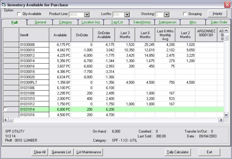 WoodPro 2000 - Lumber Management - Purchasing & Receiving